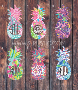 Lilly Pulitzer inspired pineapple monogram decal, yeti cooler monogram decal, laptop decal, Car decal. measures in height.