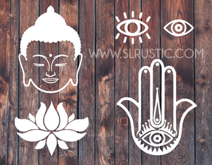 Namaste decals, Buddha head decal, evil eye decal,  Hamsa hand decal, lotus flower decal, car decal, yeti cooler decal, laptop decal.