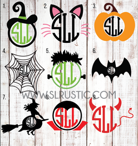 Halloween monogram decal, witch, pumpkin, trick or treat, spider web, bat, frankenstein, cat monogram decal, dracula, devil, october.