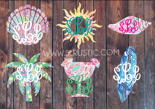 Lilly Pulitzer inspired summer monogram decal palm tree monogram surf decal margarita decal yeti cooler decal