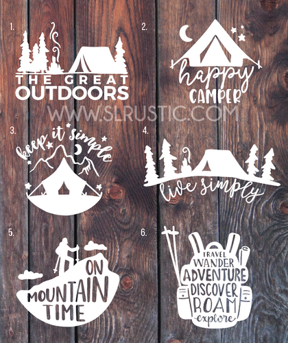 Camping decals Adventure decal hiking decal mountain decal car decal yeti decal happy camper