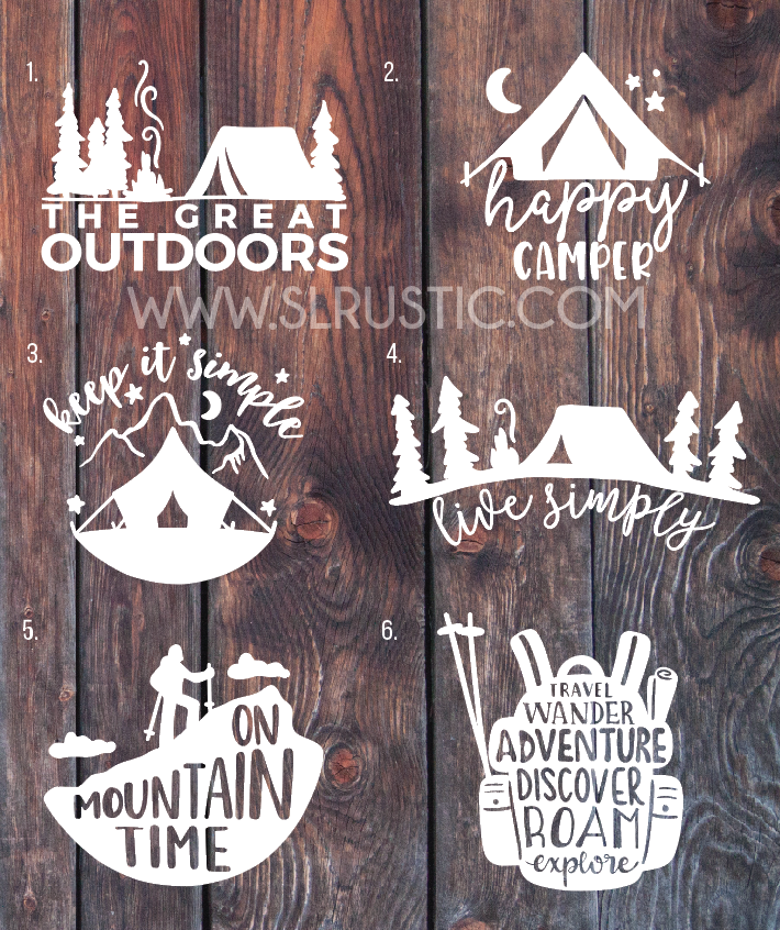 Camping Decals Adventure Decal Hiking Mountain Car Yeti Happy Camper