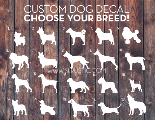 custom dog decal, dog sticker, any breed, car decal, dog parent, dog lover, dog decal.