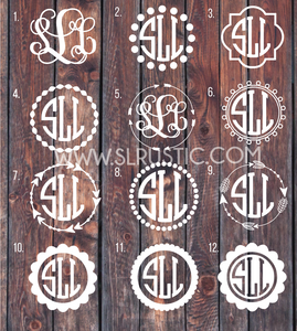 Monogram Decal circle monogram arrow monogram car decal yeti decal