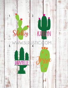 Cactus decal, personalized cactus decal, yeti cooler decal, yeti tumbler decal, laptop decal, car decal.