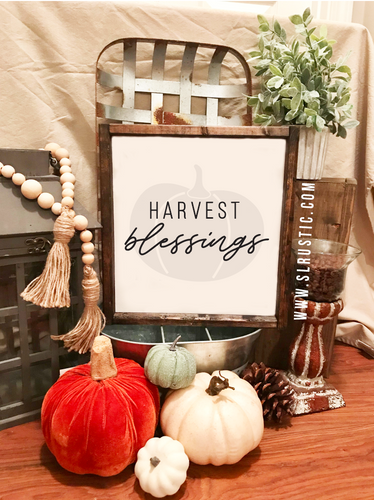 Harvest Blessings wood sign - Fall