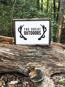 The Great Outdoors wood sign - Antlers