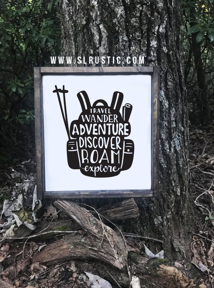 Hiking wood sign - adventure - explore
