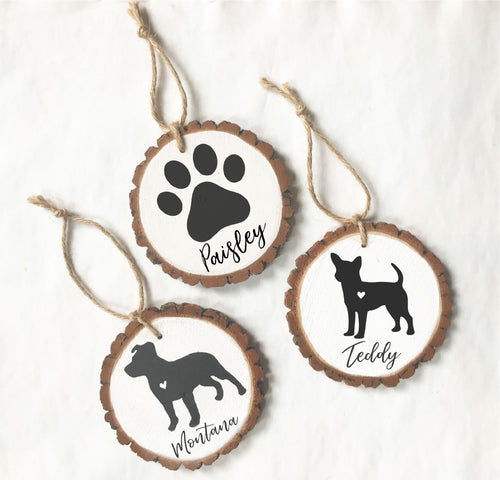 Personalized Pet wood slice ornaments - hand painted
