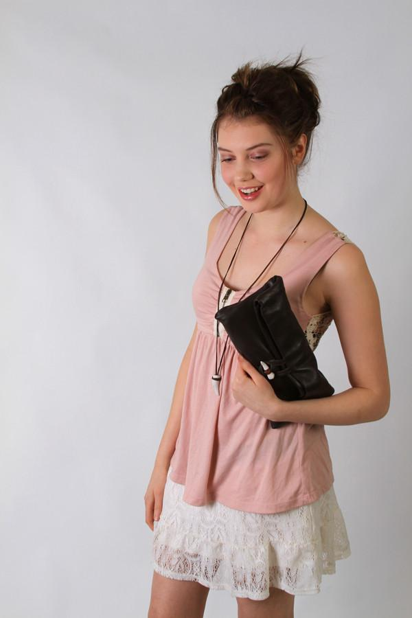 Lamb Leather Clutch with Caiman Clasp