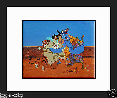 Aladdin Disney Cel Sericel hand Signed Genie Eric Goldberg NEW Frame Group Hug