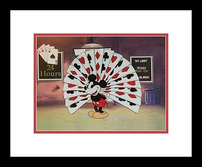 1936 Mickey Plays Texas Hold em Poker Four Aces Club Disney Sericel Cel COA