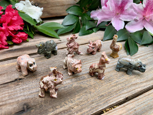 Soapstone Animal Figures - Miniature Carved Stone Animal Figurines