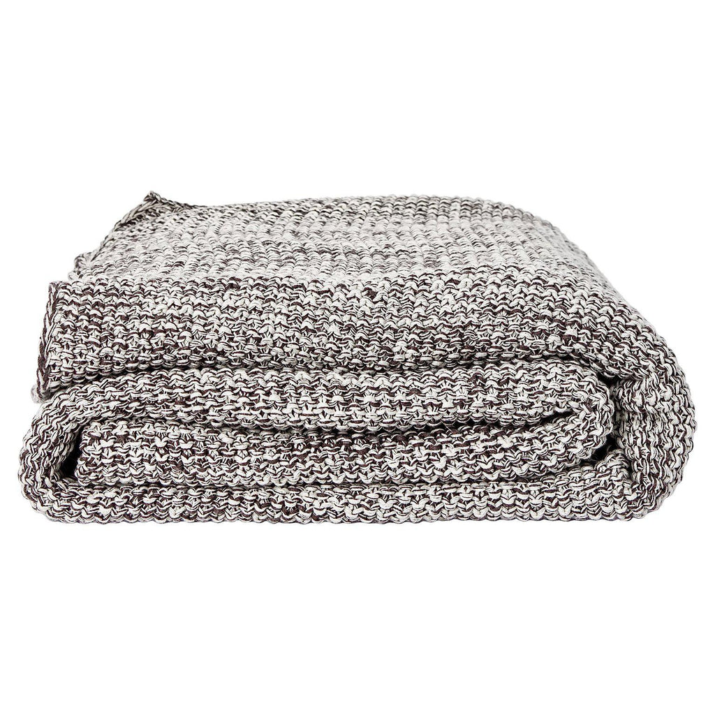 Gray Organic Throw Blanket - Square Flower