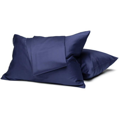 Navy Organic Sheet Set - Square Flower