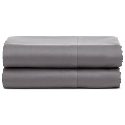 Taupe Gray Organic Flat Sheet - Square Flower