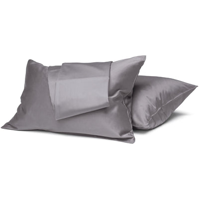 Taupe Gray Organic Sheet Set - Square Flower
