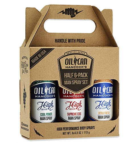 Oil Can Hancock's High Grade Man Spray, 3 x 4 oz - Half 6-Pack Man Spray Gift Set