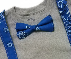 Blue Bandana Bow Ties and Hair Bows - SweetLooks Collection