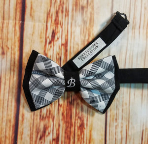 Black and White Plaid Personalized Bow Ties and Hair Bows - SweetLooks Collection