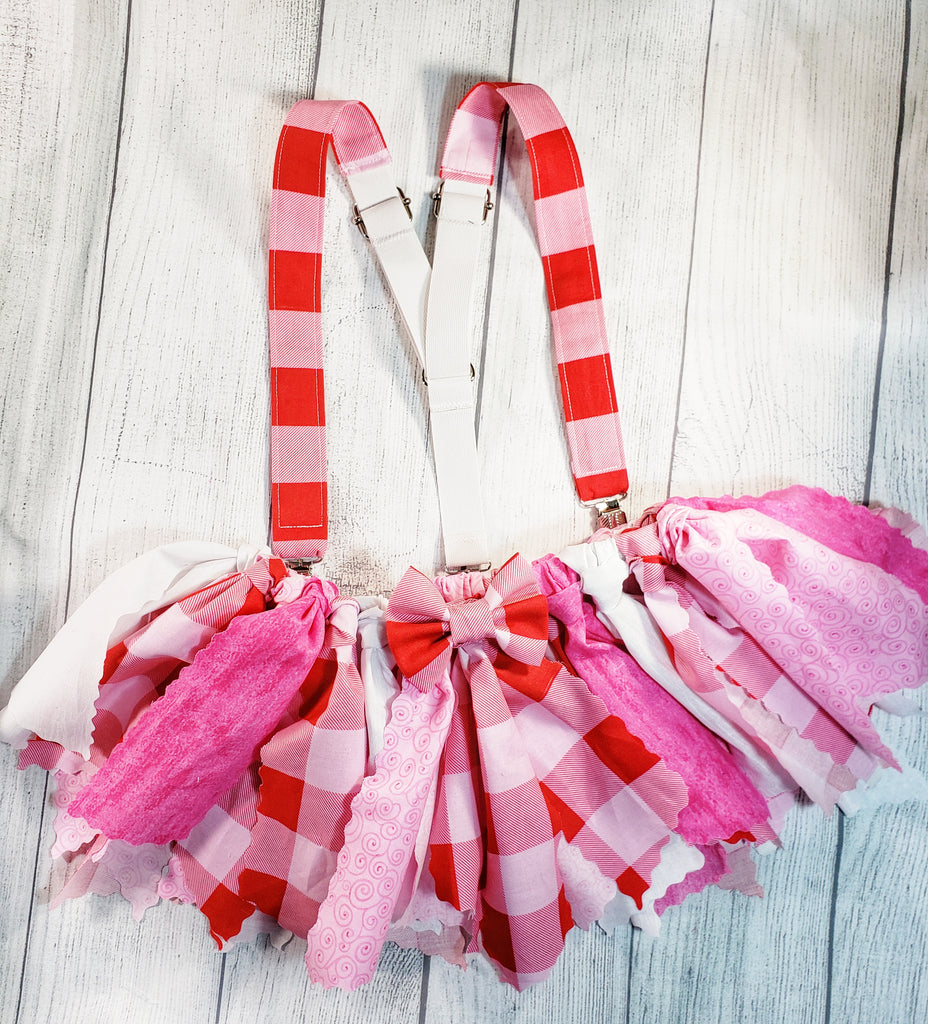 Pink Buffalo Plaid Fabric Scrap Skirt Tutu - Dapper Xpressions