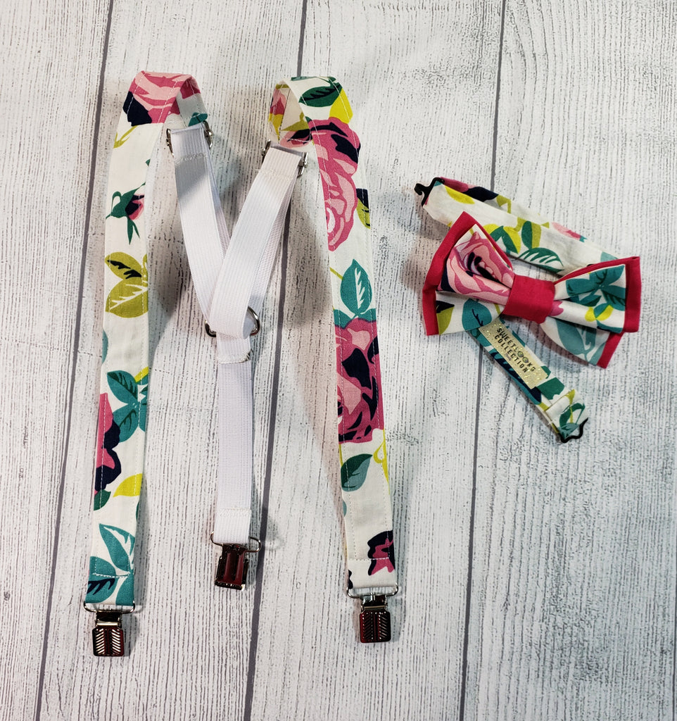 Pink Rose Floral Skinny Suspenders - Dapper Xpressions