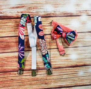 Blue Hawaiian Floral Skinny Suspenders By SweetLooks Collection - SweetLooks Collection