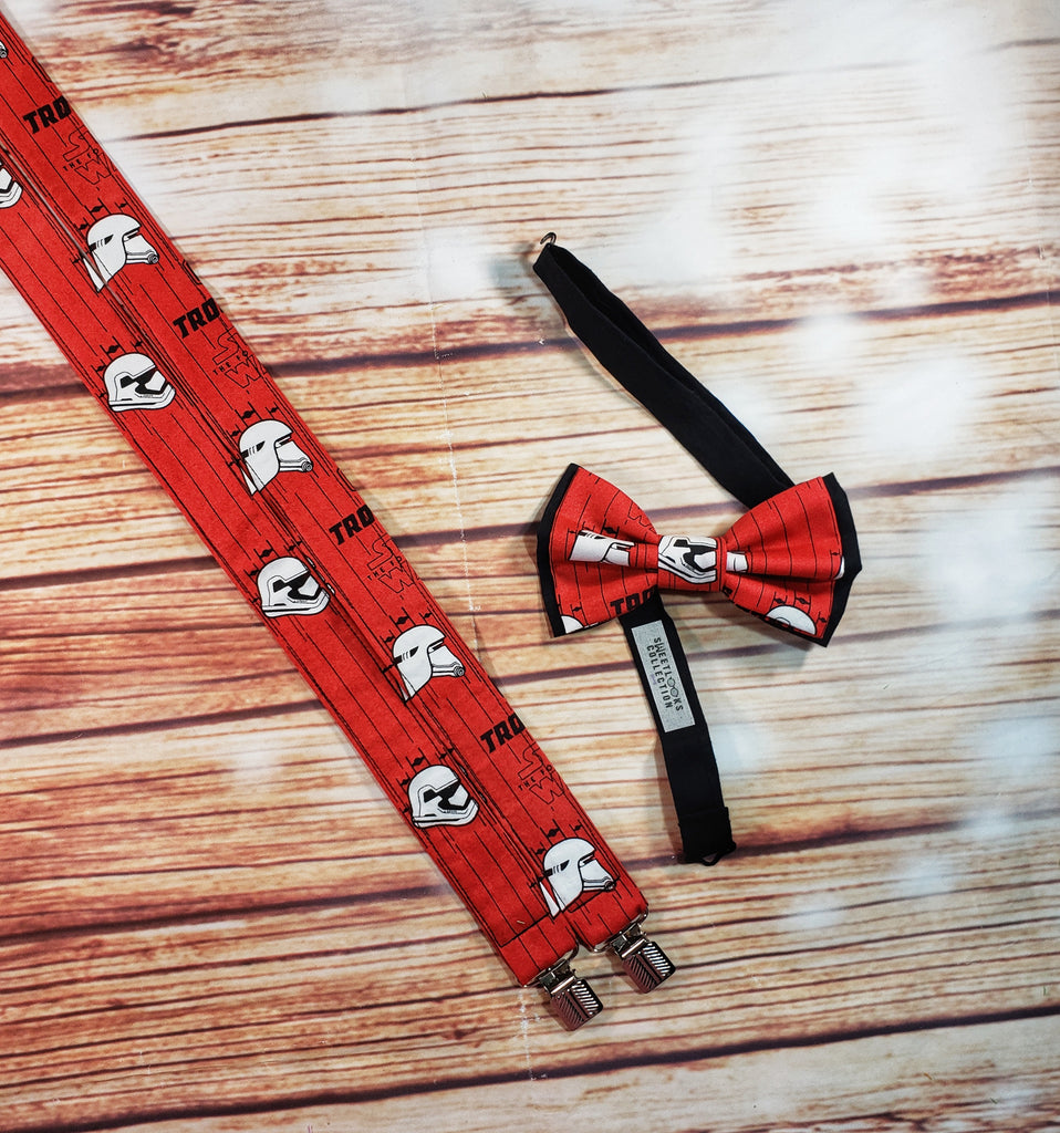 Star Wars Storm Trooper Heads Red Suspenders - Dapper Xpressions