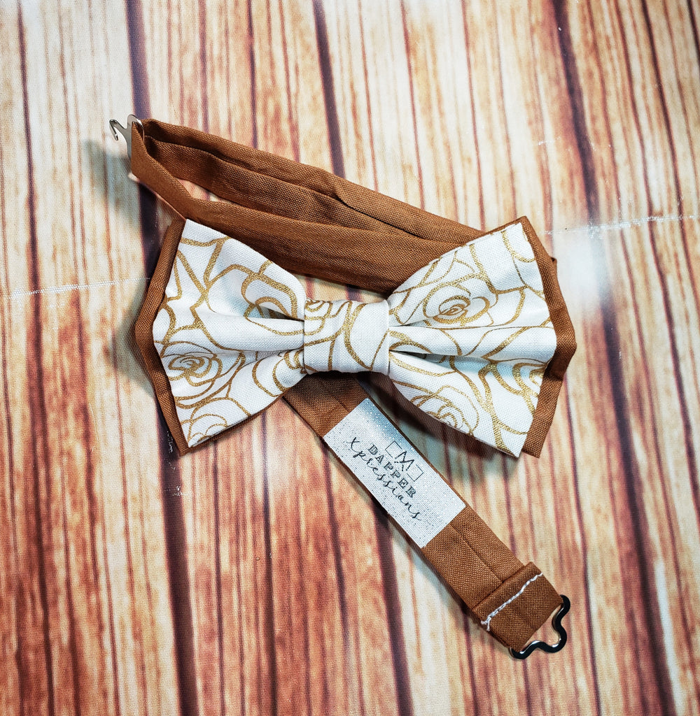 Gold Rose Skinny Suspenders - Dapper Xpressions