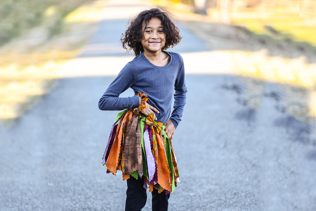African Kente Fabric Scrap Skirt Tutu - Dapper Xpressions
