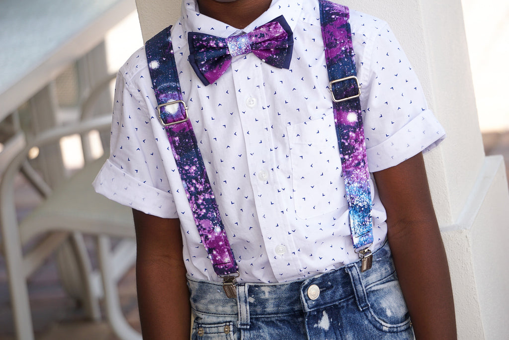 Glitter Galaxy Suspenders And Bow Tie (or Hair Bow) - Dapper Xpressions