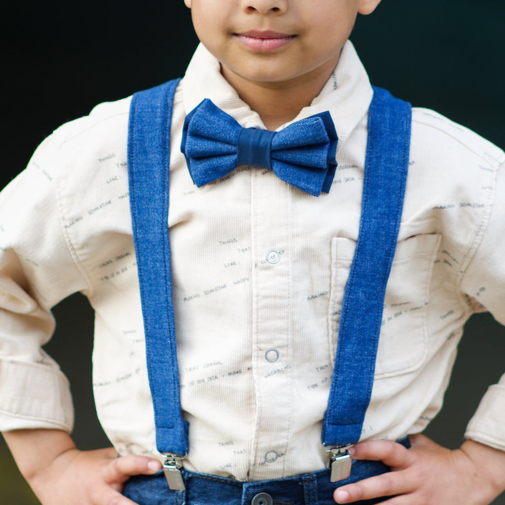 Dark Blue Denim Suspenders - Dapper Xpressions