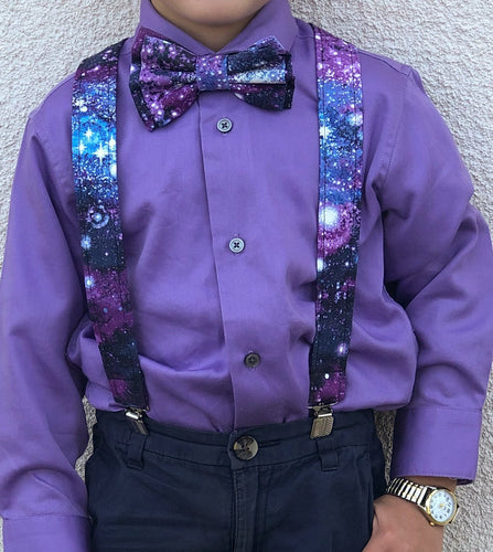 Glitter Galaxy Suspenders And Bow Tie (or Hair Bow) - SweetLooks Collection