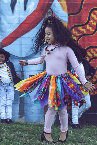 Bright Multicolored Kente Fabric Scrap Skirt Tutu - SweetLooks Collection