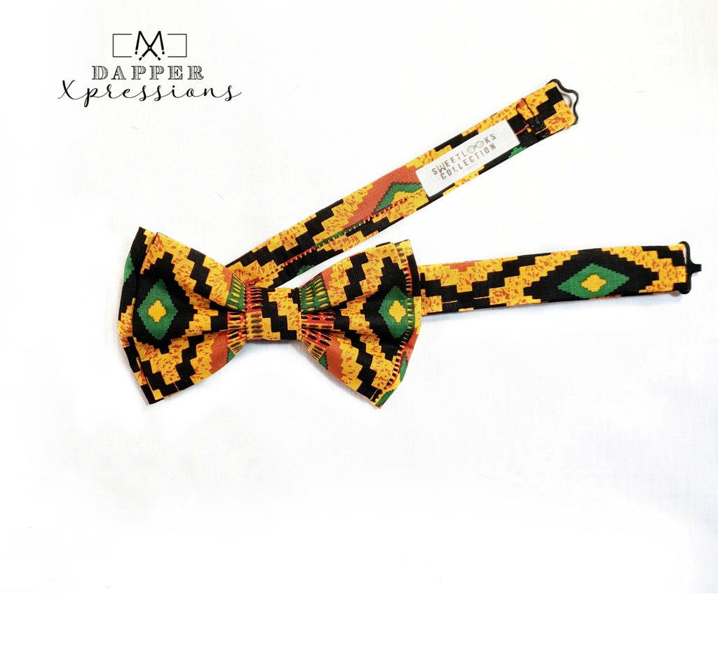 African Style Geometric Bow Ties and Hair Bows - Dapper Xpressions