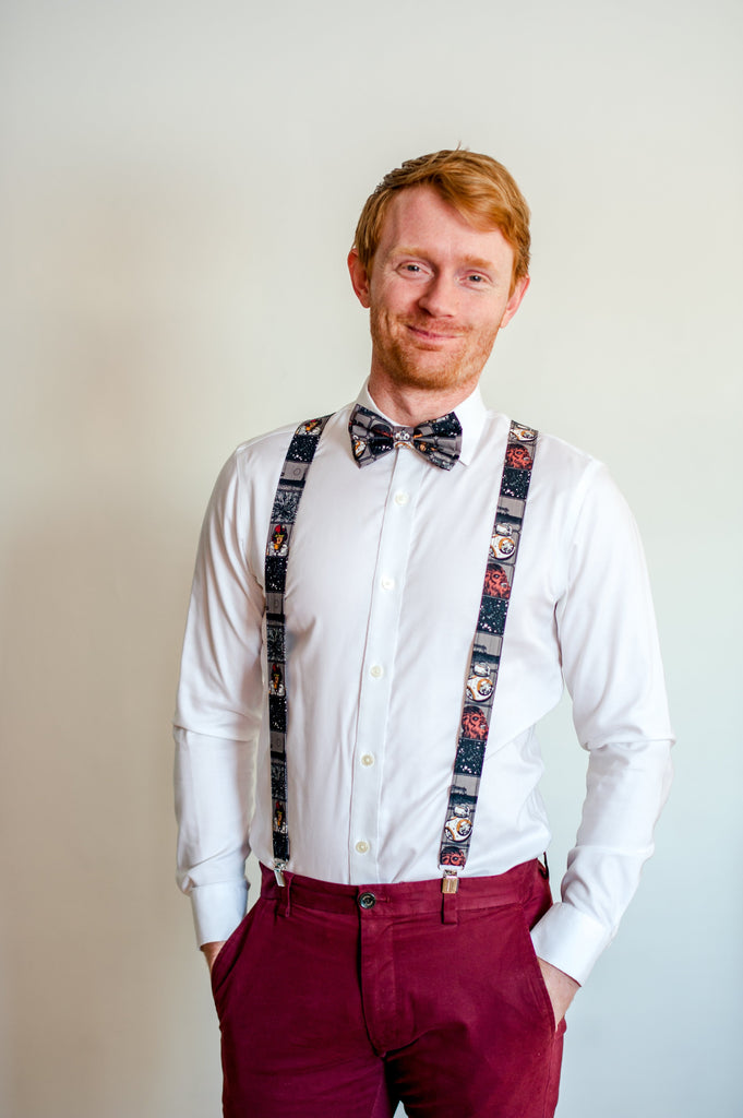 Star Wars Suspenders Gray Blocked - Dapper Xpressions