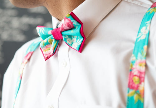 Turquoise Floral Bow Ties and Hair Bows By SweetLooks Collection - SweetLooks Collection