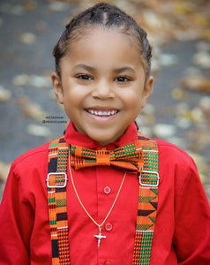 African Orange Kente Suspenders By SweetLooks Collection - SweetLooks Collection