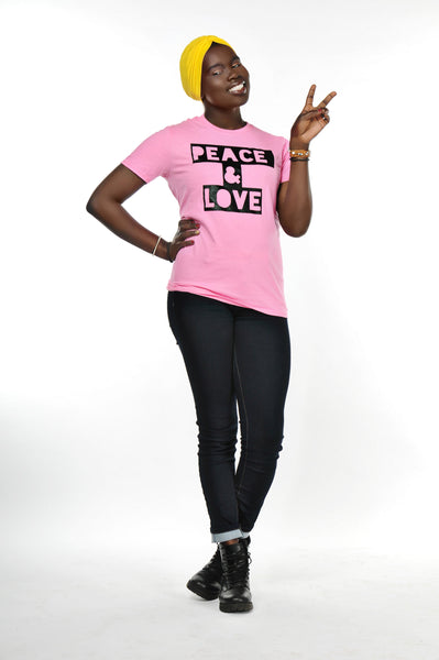 Peace & Love T-Shirt (Light Pink)