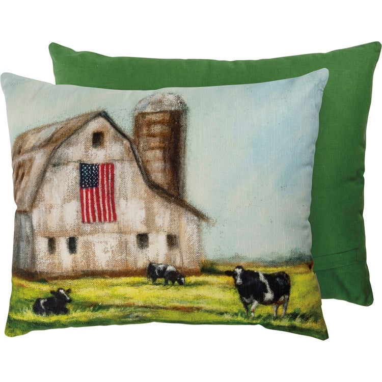 Farm And Flag Pillow