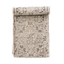 "72""L x 14""W Cotton Printed Table Runner with Frayed Edge, Grey & Cream Color"