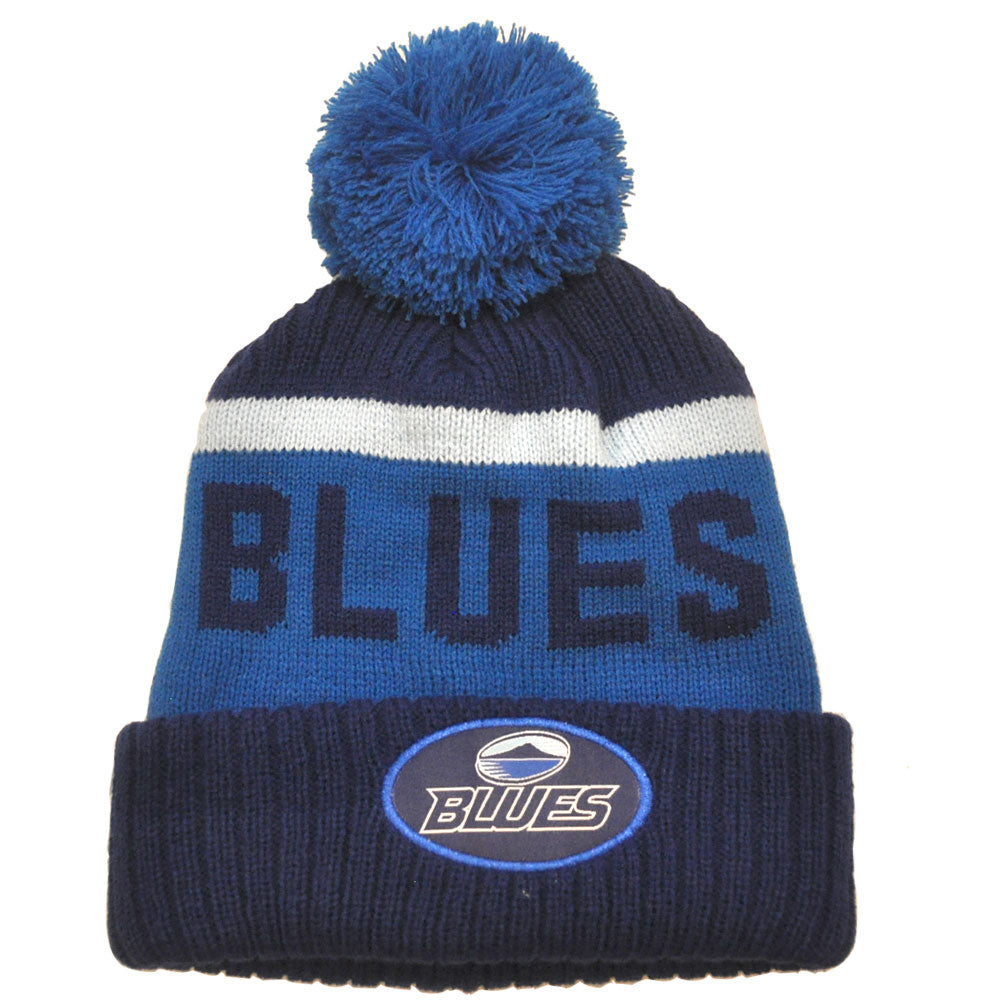 Blues Rib Knit Pompom Beanie