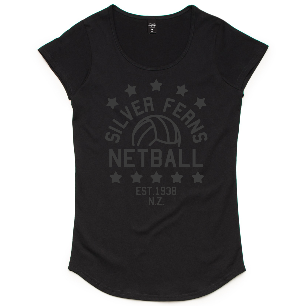 Silver Ferns Stars Scoop T Shirt