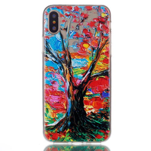 Ultra Thin Transparent Colorful Autumn Tree iPhone X Case