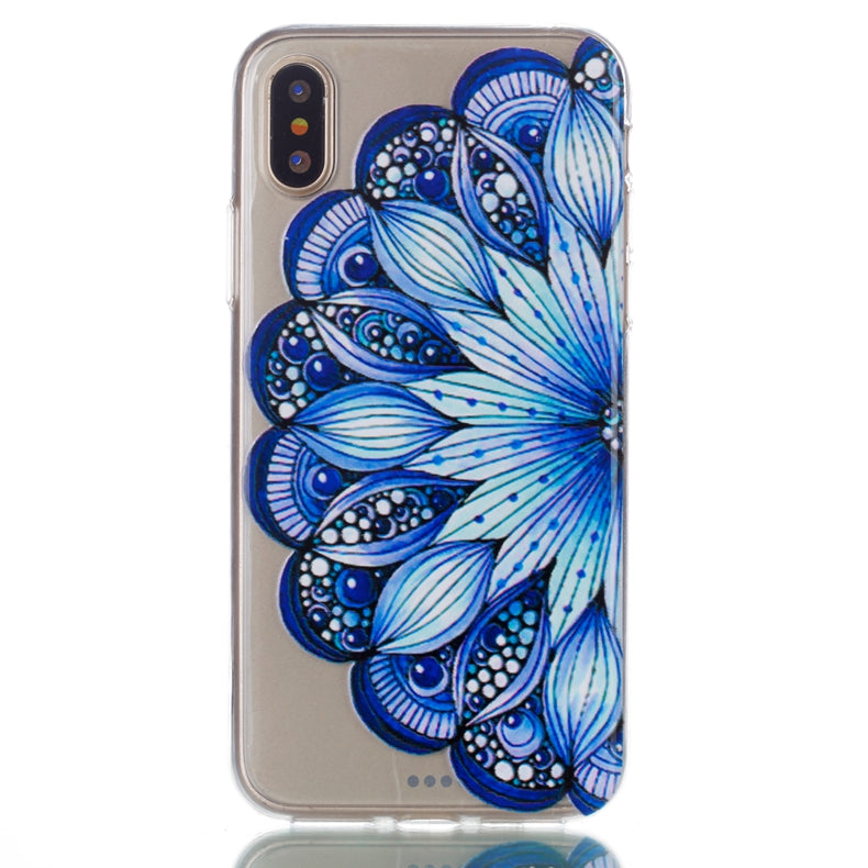 Ultra Thin Transparent Blue Flowered iPhone X Case