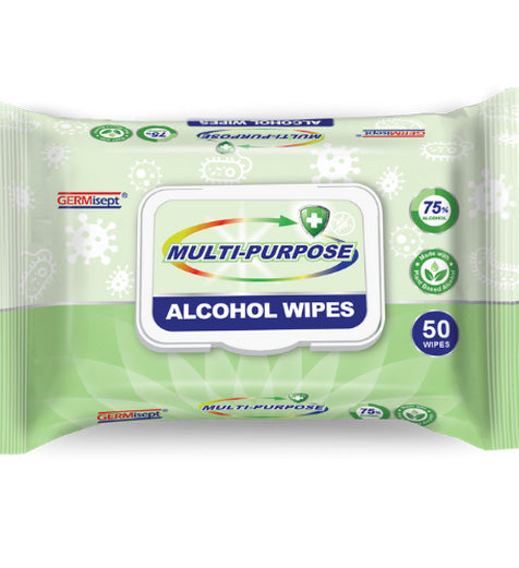 Multi-Purpose Alcohol Wipes - 50/pack