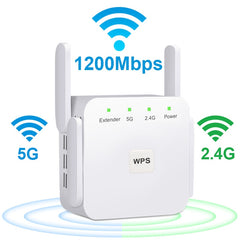 5G WiFi Repeater 1200Mbps Router Wifi Extender 2.4G Wireless Wifi Long Range Booster Wi-Fi Signal Amplifier 5ghz Wi Fi Repeater