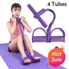 Newly 4 Tube Fitness Elastic Sit Up Pull Rope Abdominal Exerciser Home Gym Sport Training Equipment Pull Rope Pedal Ankle Puller