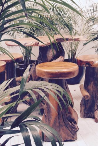 Teak tree bar stools
