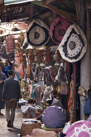 Leather ottomans in Moroccan market